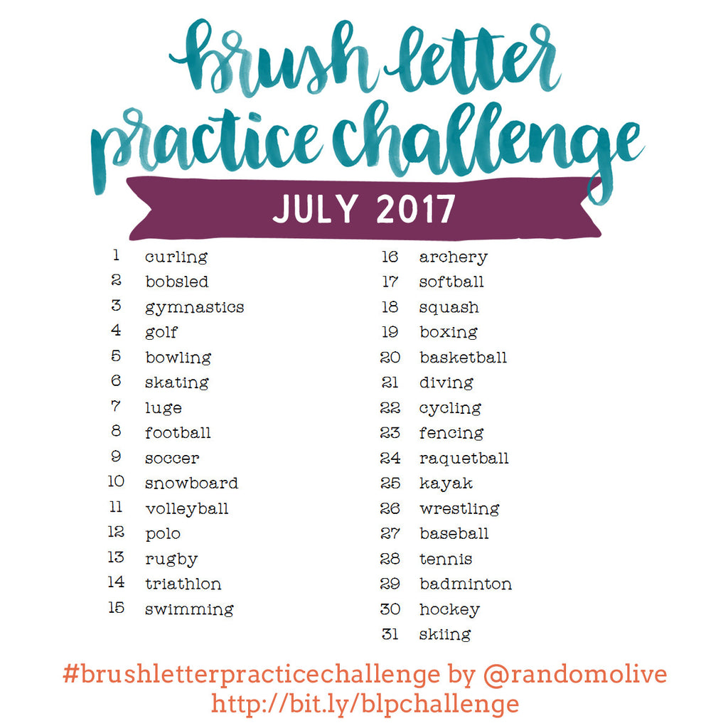 Brush Letter Practice Challenge for July 2017