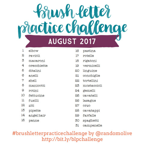 Brush Letter Practice Challenge for August 2017