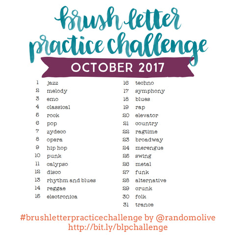 Brush Letter Practice Challenge for October 2017