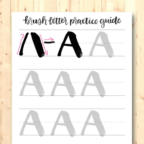 Brush Letter Practice Guide: Block Caps Edition