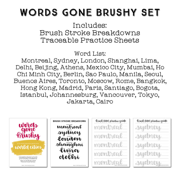 Words Gone Brushy: World Cities