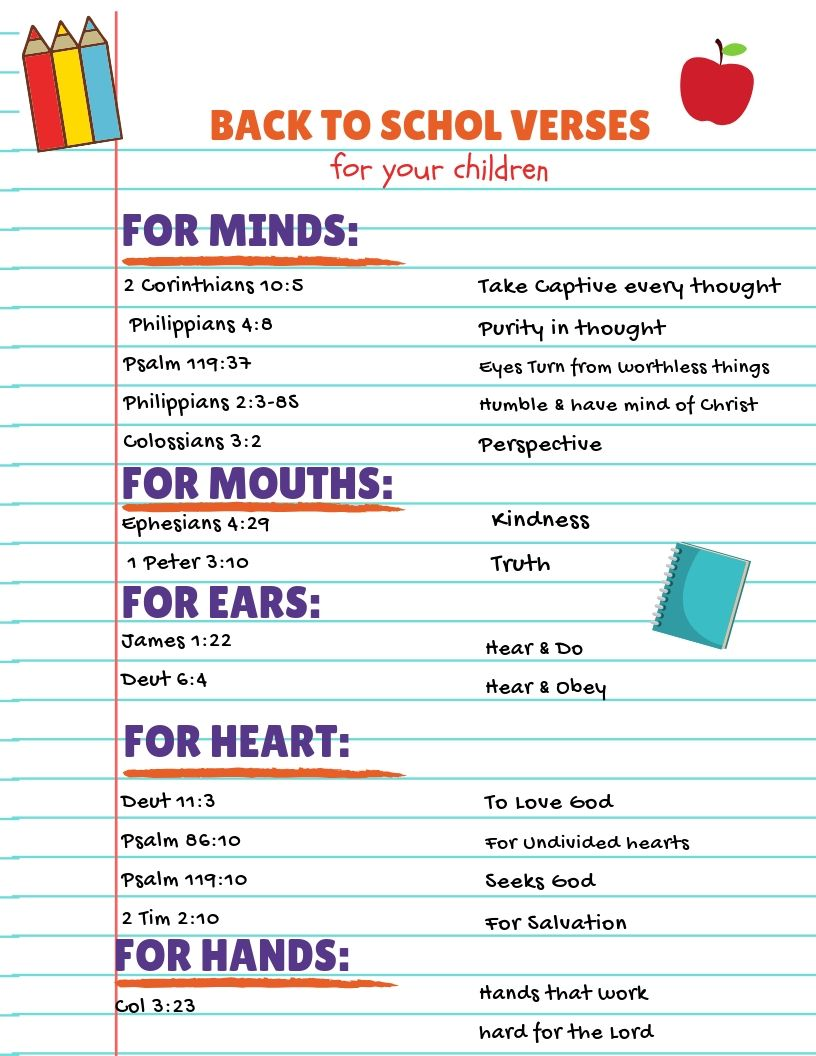 """Print - ""Back to School Verses"" for Children"