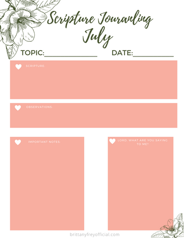 Scripture Journaling- July Printable!