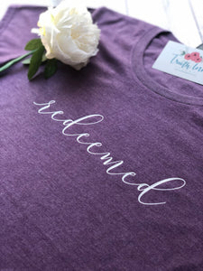 Redeemed - Ladies Scoop Tee.  This gorgeous Heather T will be your new favorite!
