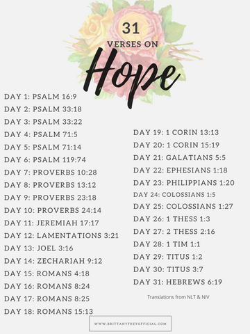 31 Verses on Hope- August Scripture Writing