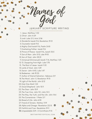 Names of God- January Scripture Writing