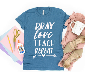 PRAY LOVE TEACH REPEAT TEE (ROYAL BLUE)