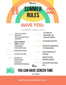 """Summer Screen Time Rules"""