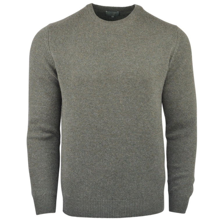 Men's Pure Cashmere Thick Knit Crew Neck Jumper in Country Green