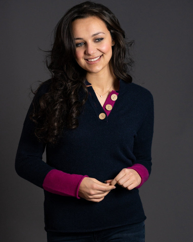 High Collar Jumper in Navy with Fuchsia Pink