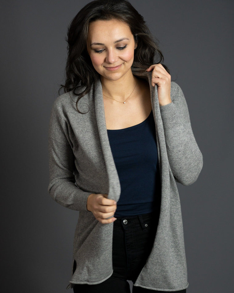 Long Cashmere Cardigan in Flannel Grey