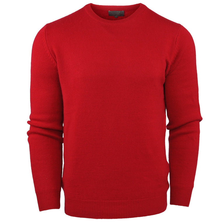 Unisex Cashmere Thick Knit Crew Neck Jumper in Red