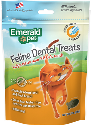 Holistic Cat Emerald Pet Grain Free Dental Treats Chicken 3oz