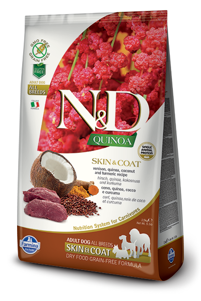 FARMINA N/D QUINOA SKIN AND COAT VENISON DRY DOG FOOD 5.5 LB (LOCAL DELIVERY ONLY) CALL STORE FOR SHIPPING INFORMAION