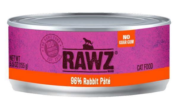 Rawz Cat Food 96% Rabbit Pate 5.5 oz
