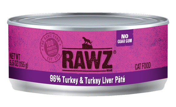 Rawz Cat Food 96% Turkey and Turkey Liver Pate 5.5 oz