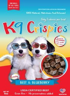 K9CRISPIES BITE SIZE BEEF AND BLUEBERRY DOG TRAINING TREATS 6OZ