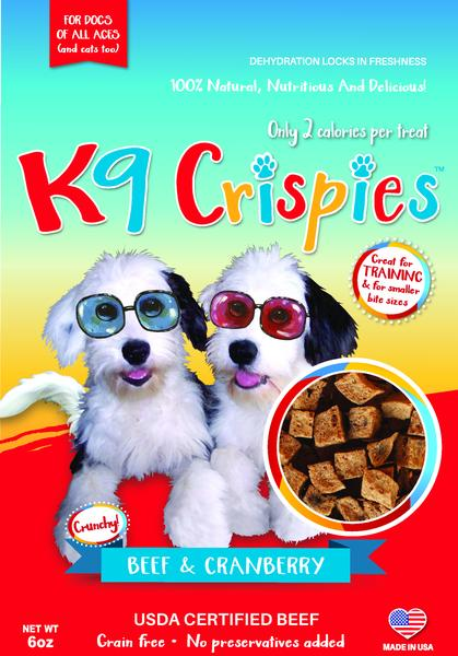 K9CRISPIES BITE SIZE BEEF AND CRANBERRY DOG TRAINING TREATS 6OZ