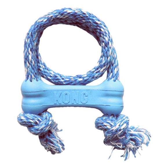 Kong Puppy Bone with Rope XS Blue