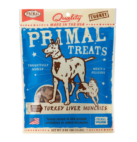 Holistic Freeze Dried Cat and Dog Treats Primal Freeze-Dried Turkey Liver Munchies