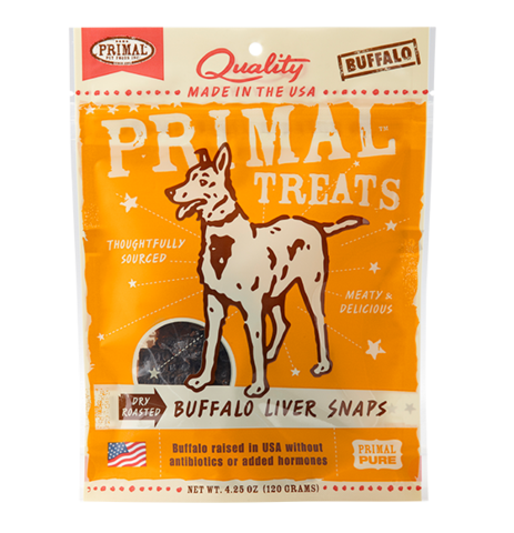 Holistic Freeze Dried Dog Treats Primal Dry Roasted Buffalo Liver Snaps