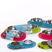 Messy Mutts Double Silicone Feeder with Stainless Bowl 3 cups per bowl for Cats and Dogs