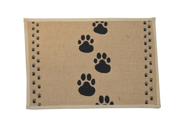 Buddy's Line Black Paws Jute Dog Placemat