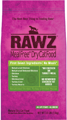 RAWZ Meal Free Dry Salmon, Dehydrated Chicken,Whitefish and Turkey Cat Food 3.5lbs