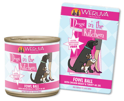 Weruva Dogs In The Kitchen Fowl Ball – With Chicken Breast & Turkey Au Jus 2.8 oz