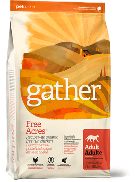 Holistic Dog Food Petcurean Gather Free Acres Organic Free-Run Chicken Recipe for Adults 4lb