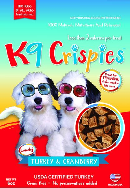 K9CRISPIES BITE SIZE TURKEY AND CRANBERRY DOG TREATS 6OZ