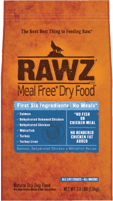 RAWZ Meal Free Dry Salmon, Dehydrated Chicken & Whitefish Recipe Dog Food 3.5lbs