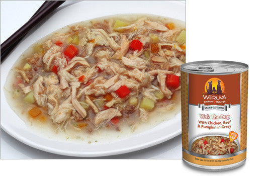 Weruva Wok the Dog – With Chicken, Beef and Pumpkin in Gravy 14 oz