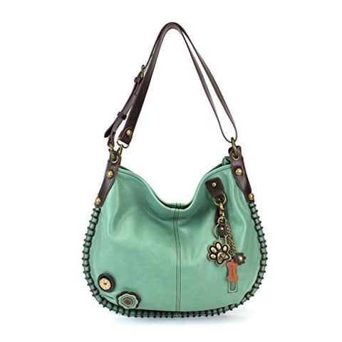 "Chala Charming Hobo Crossbody ""Metal Paw Print"" - Teal"
