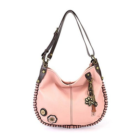 "Chala Charming Hobo Crossbody ""Metal Paw Print"" - Pink"