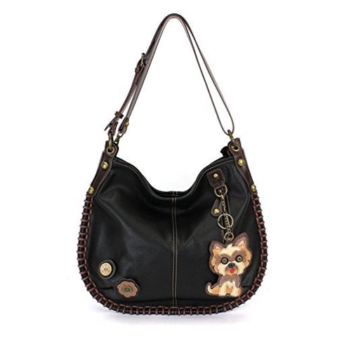 "Chala Charming Hobo Crossbody Purse ""Yorkshire Terrier"" - Black"