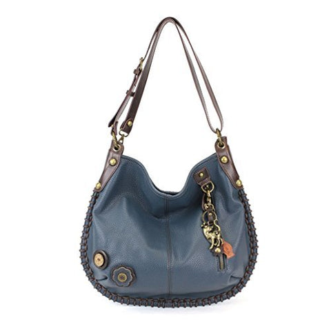 "Chala Charming Hobo Crossbody ""Metal Slim Cat"" - Navy"
