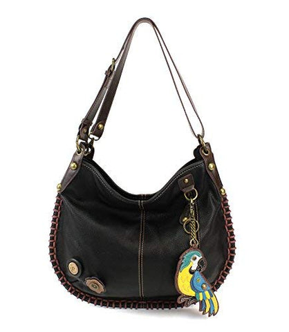 CHALA Crossbody Handbag, Hobo Style, Casual, Soft, Large Bag Shoulder or Crossbody - Black (Parrot Blue)