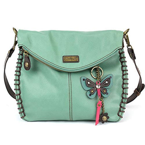 Chala Charming Crossbody, Shoulder Purse with Detachable Teal Butterfly Purse Charm in Teal Mint Color