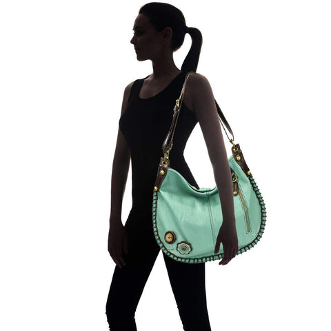 Chala CONVERTIBLE Hobo Large Tote Bag SLIM CAT Vegan Leather Teal Green