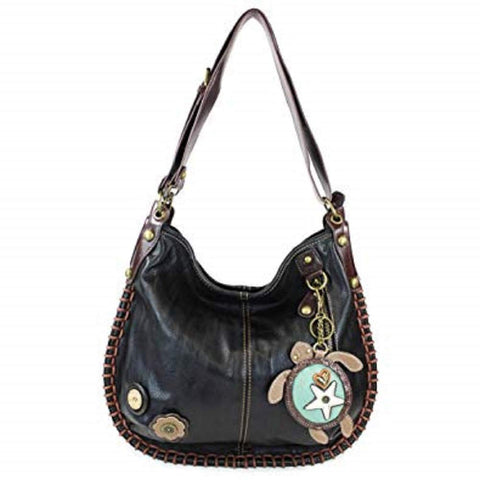 CHALA Crossbody Handbag, Hobo Style, Casual, Soft, Large Bag Shoulder or Crossbody - Black (Turtle)