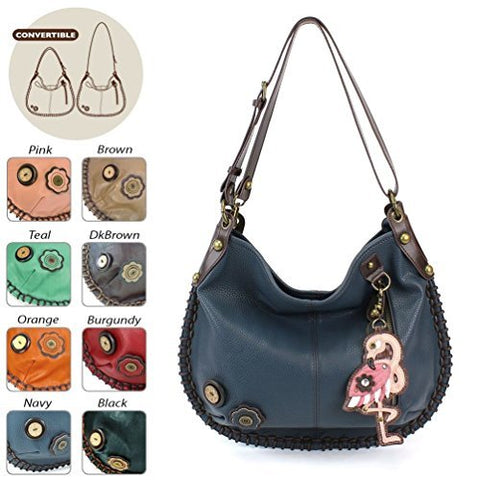 "Chala Charming Hobo Crossbody ""Flamingo"" - Navy"