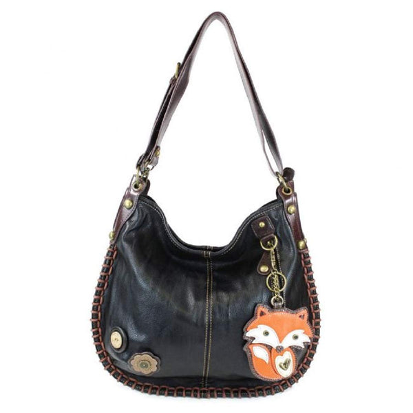 Chala CONVERTIBLE Hobo Large Tote Bag FOX Vegan leather gift Black + Coin Purse