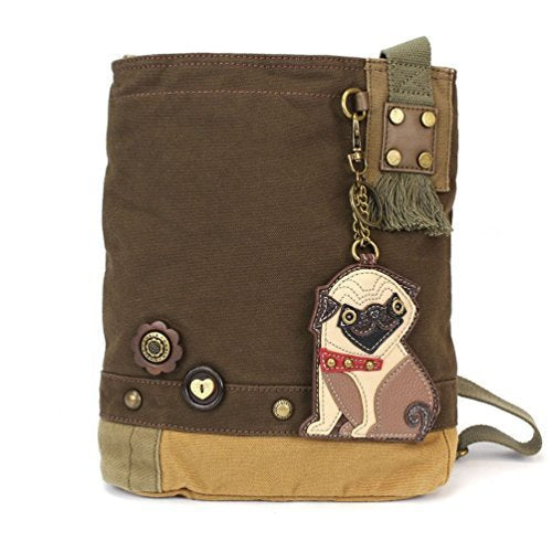 "Chala Womens' Canvas Patch Crossbody Handbag ""Pug"" - Dark Brown"