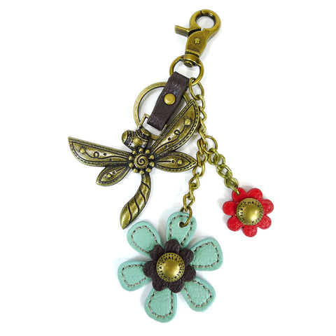 Chala Bronze Metal- Purse Charm, Key Fob, Keychain Decorative Accessory - M602 Teal Dragonfly
