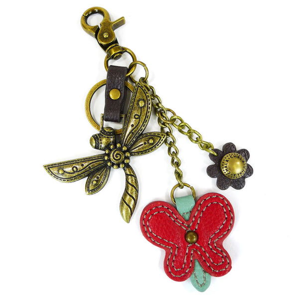 Chala Metal Dragonfly Purse Charm with Orange Flowers - Animal-Bags.com
