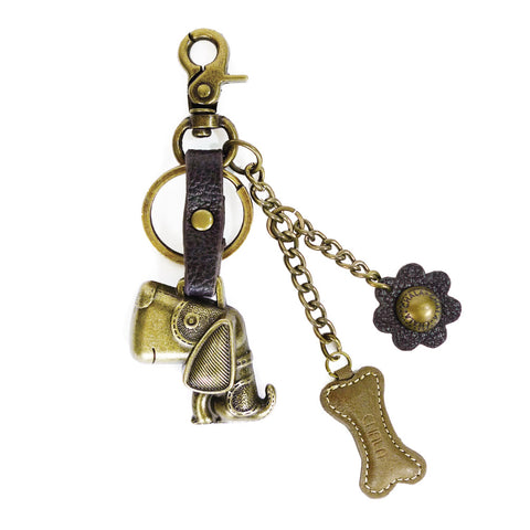 Chala Bronze Metal- Purse Charm, Key Fob, Keychain Decorative Accessory - M602 Dog