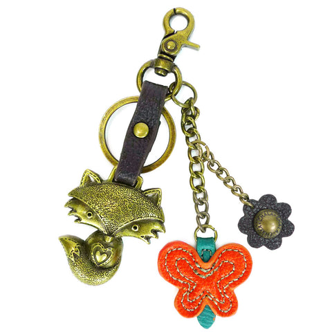 Chala Metal Fox Purse Charm with Orange Butterfly - Animal-Bags.com