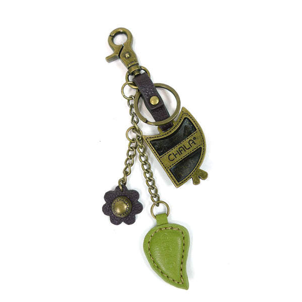 Chala Metal Owl Purse Charm with Green Leaf Key Chain - Animal-Bags.com