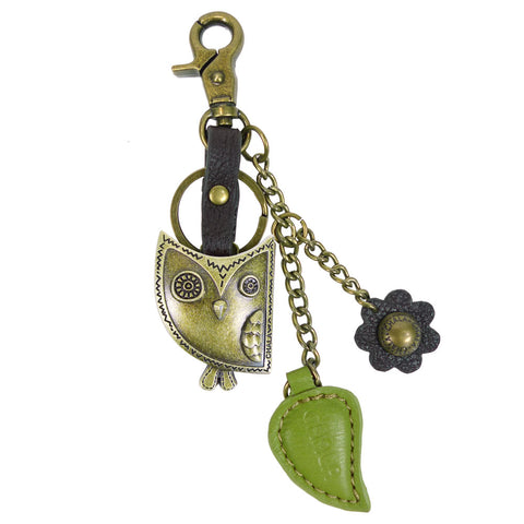 Chala Bronze Metal- Purse Charm, Key Fob, Keychain Decorative Accessory - M602 Owl